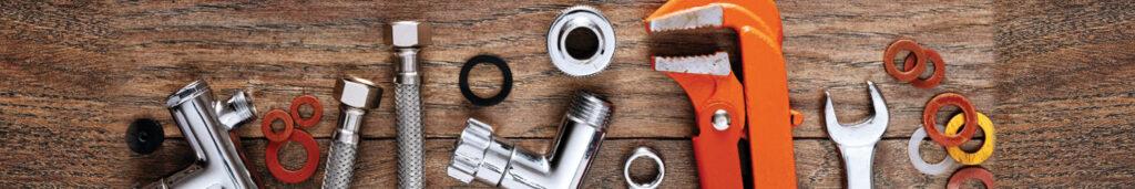 Various plumbing tools banner